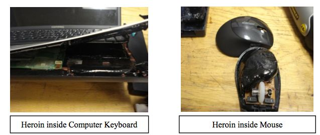 Heroin inside laptop and mouse