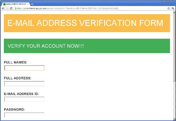 Google Docs spreadsheet phishing example