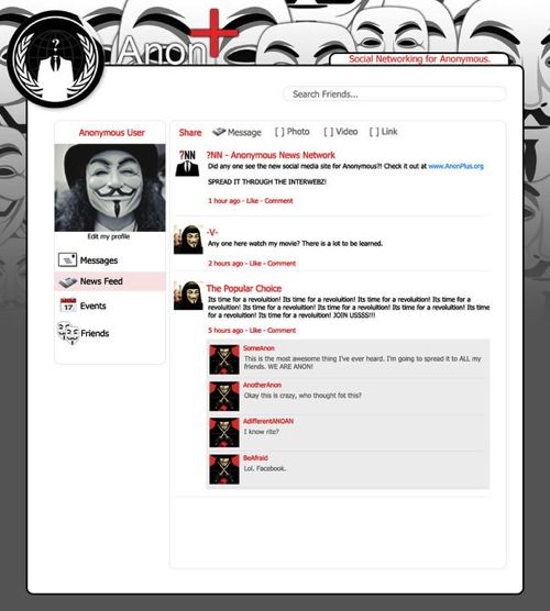 Anon  (or Anonplus) social network mockup