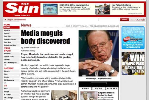 LulzSec Rupert Murdoch fake death