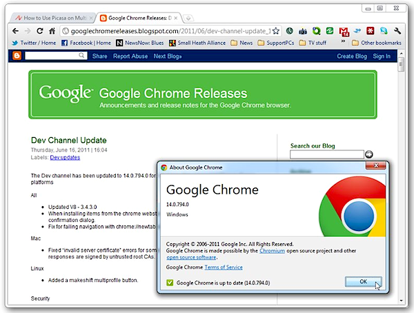 Google updates Chrome 14 Dev to support Mac OS X Lion